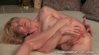 Skinny grandma Bossy Rider strips off and plays with her old pussy